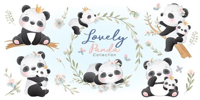 Panda carino con collezione floreale