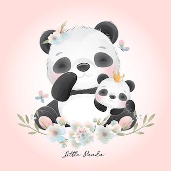 花のイラストとかわいいパンダ