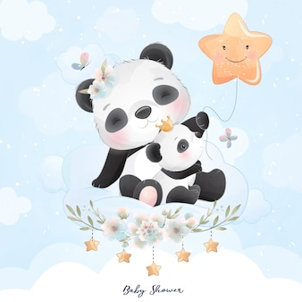 Cute panda with floral illustration
