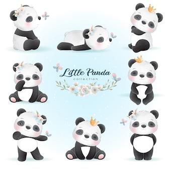Милая панда с цветочными иллюстрациями