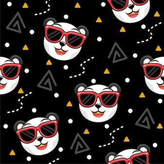 メガネパターンイラストとかわいいパンダ