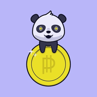 Cute panda with gold coin illustration