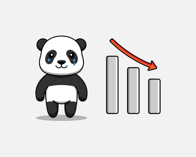 Милая панда с графиком вниз знак