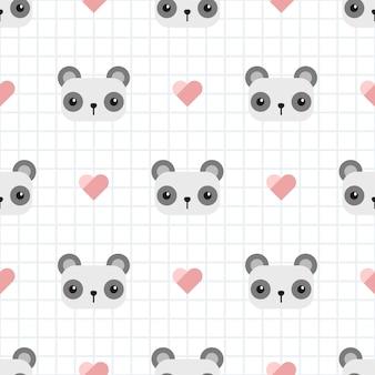 Cute panda with grid cartoon seamless pattern