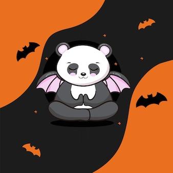 할로윈과 귀여운 팬더 무료 벡터