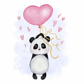 Cute panda with heart baloon