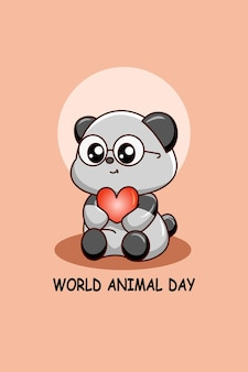 동물의 날 만화 그림에 마음으로 귀여운 팬더