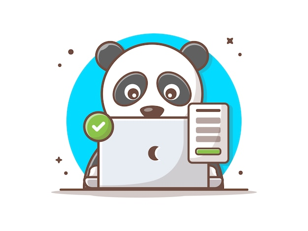 Cute panda with laptop and successful sign vector icon illustration.