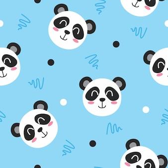 Cute panda with line art pattern illustration