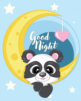 Cute panda with moon illustration with love and star