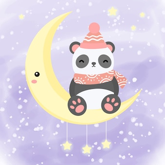 Cute panda with the moon illustration