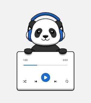 Cute panda with music user interface