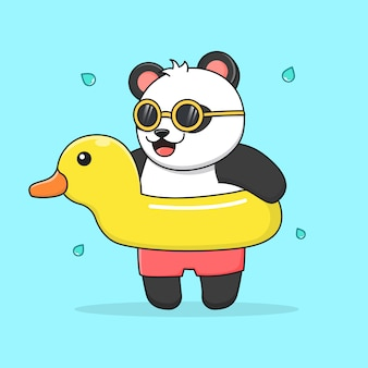Cute panda with rubber duck and sunglasses