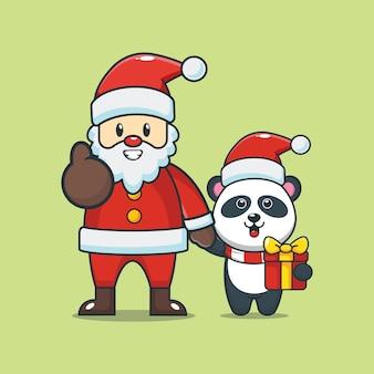 크리스마스 날에 산타 클로스와 귀여운 팬더 귀여운 크리스마스 만화 그림