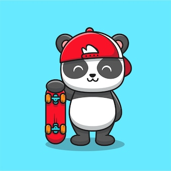 Милая панда с мультяшным скейтбордом. концепция значок спорта животных изолированы. плоский мультяшном стиле