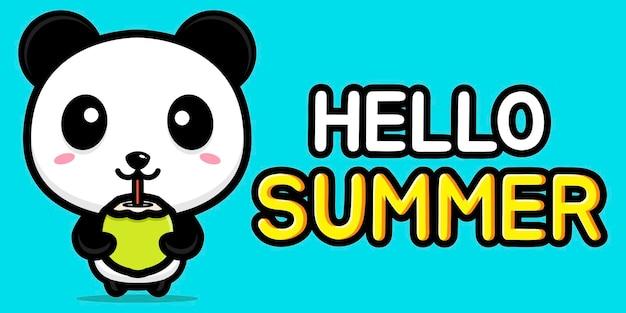여름 인사말 배너와 귀여운 팬더