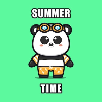 Cute panda with a summer theme   illustration animal summer concept