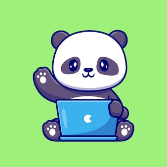 ラップトップ漫画ベクトルアイコンイラストに取り組んでいるかわいいパンダ。動物技術アイコンコンセプト分離プレミアムベクトル。フラット漫画スタイル