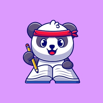 Cute panda writing on book with pencil cartoon icon illustration.