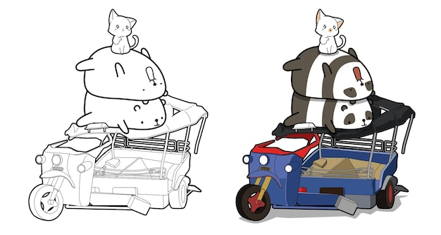 Cute pandas and cat with tricycle cartoon coloring page for kids