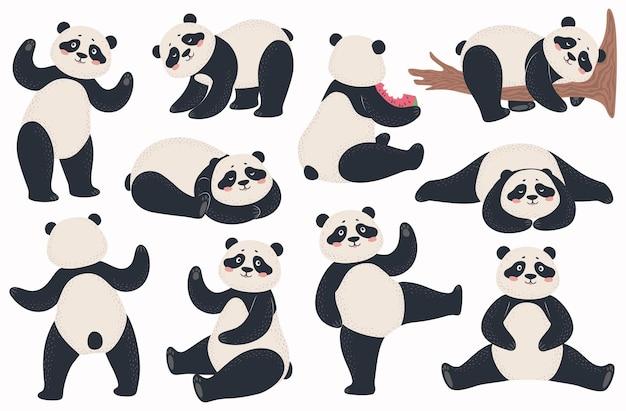Симпатичные панды китайский медведь в различных позах стоя, лежа, сидя, танцует. счастливый азиатский талисман
