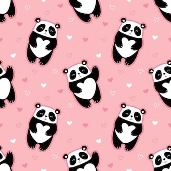 Cute pandas seamless pattern, hearts, valentines day.