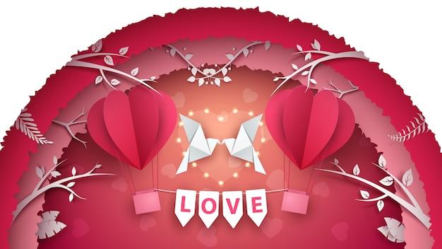 Cute paper air balloon. love illustration