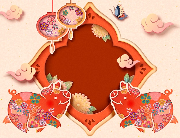 Cute paper art piggy with hanging lanterns, copy space for holiday greeting words