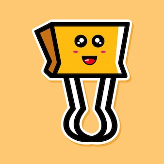 Cute paper clip cartoon character