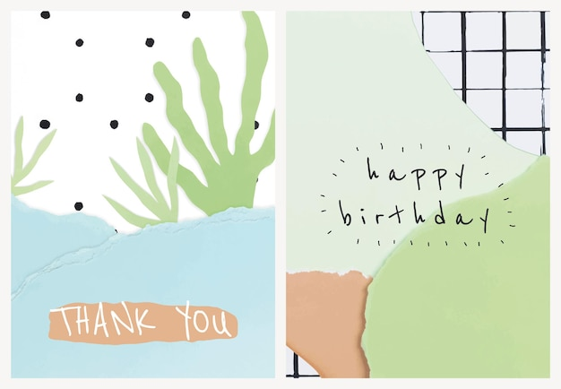 Cute paper craft templates vector for invitation card