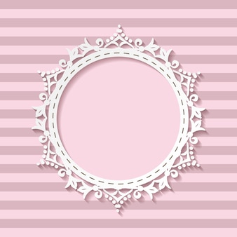 Cute paper cut frame on striped seamless background.