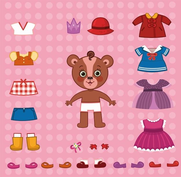 Милый медведь бумажная кукла с ее тканью набор векторные иллюстрации