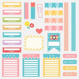 Симпатичные бумажные записки. памятные наклейки