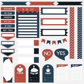 Симпатичные бумажные заметки. наклейки-планировщики для печати.
