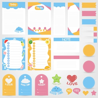 Cute paper notes set. paper banner design for message. decorative planning element collection.