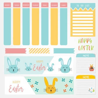 Cute paper notes set with easter day themes. paper banner design for message.