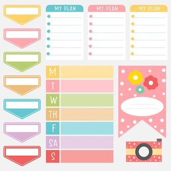 Cute paper notes in sweet color set. printable planner stickers. template for your message. decorative planning element