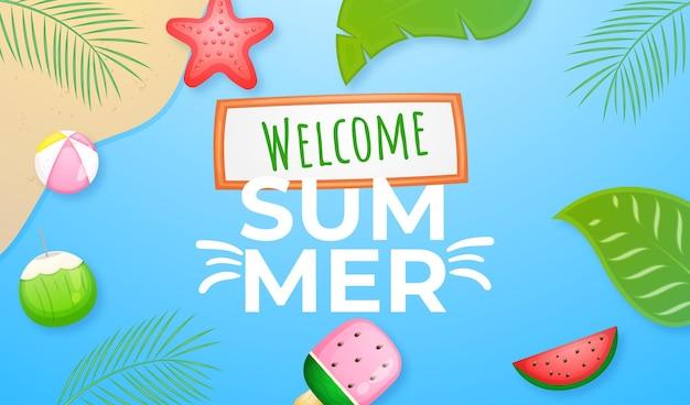 かわいい紙風夏の挨拶バナー