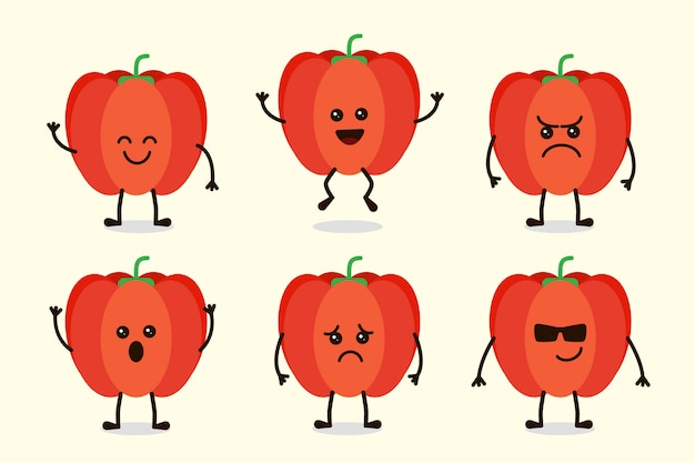 Cute paprica vegetable character isolated in multiple expressions Premium Vector