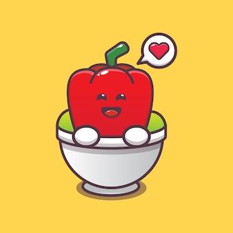 Cute paprika in bowl cartoon illustration vegetable cartoon vector illustration