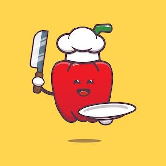 Cute paprika chef cartoon illustration vegetable cartoon vector illustration