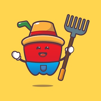 Cute paprika farmer cartoon illustration vegetable cartoon vector illustration