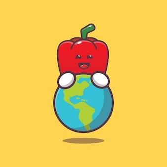 Cute paprika huging earth cartoon illustration world vegetarian day illustration