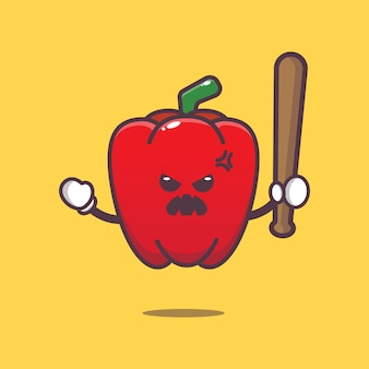 Cute paprika is angry cartoon illustration vegetable cartoon vector illustration