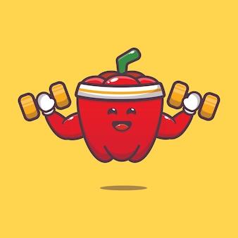 Cute paprika lifting dumbbell cartoon illustration vegetable cartoon vector illustration