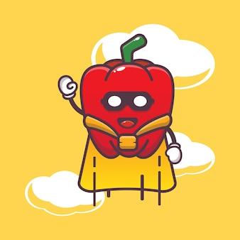 Cute paprika super hero flying cartoon illustration vegetable cartoon vector illustration
