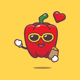 Cute paprika with shopping bag cartoon illustration vegetable cartoon vector illustration