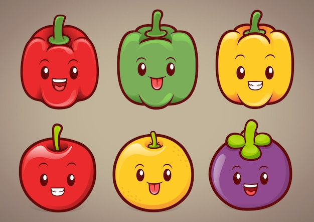 Cute paprikas and fruits character illustration