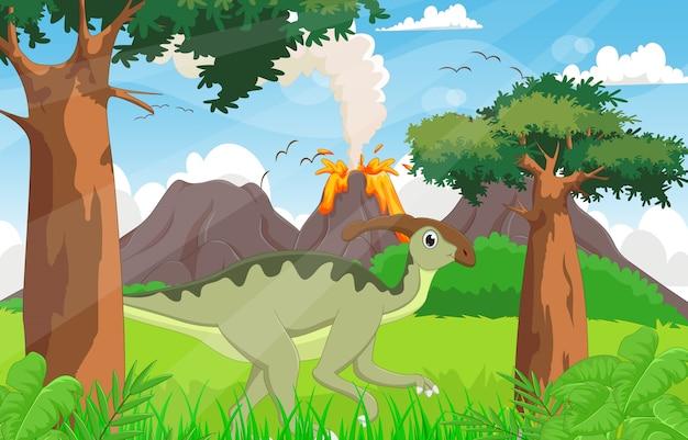 Cute parasaurolophus cartoon in the jungle