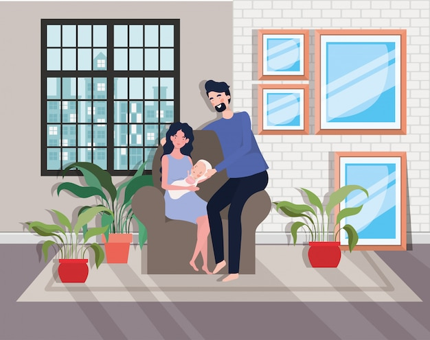 Cute parents couple with newborn  baby in sofa